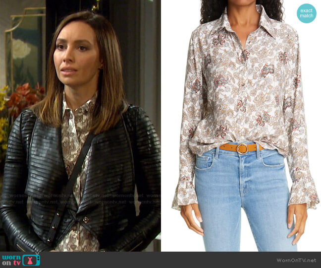 70s Ruffle Silk Top by Frame worn by Gwen Rizczech (Emily O'Brien) on Days of our Lives