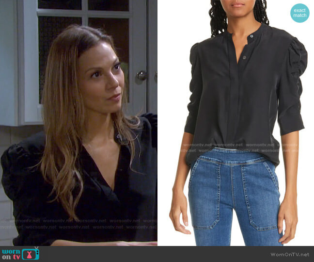Shirred Sleeve Silk Blouse by Frame worn by Ava Vitali (Tamara Braun ) on Days of our Lives