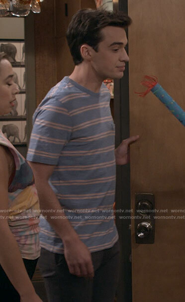 Freddie's blue striped t-shirt on Call Your Mother