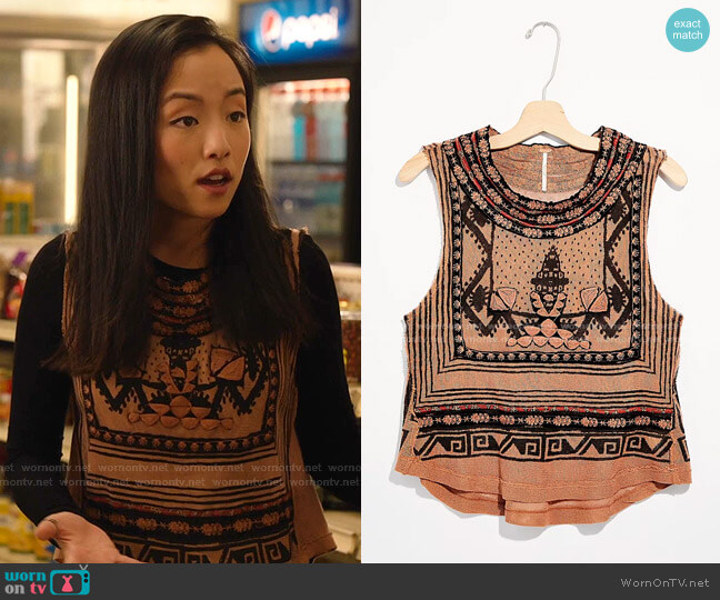 Late Night Tee by Free People worn by Janet (Andrea Bang) on Kims Convenience