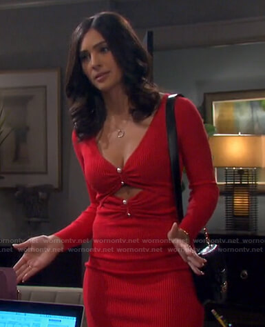 Gabi's red ribbed cutout dress on Days of our Lives