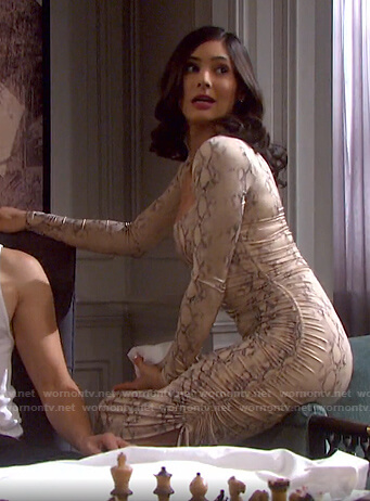 Gabi's snake ruched side dress on Days of our Lives
