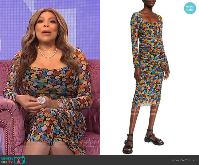 Floral-Print Long-Sleeve Shirred Mesh Dress by Ganni worn by Wendy Williams  on The Wendy Williams Show