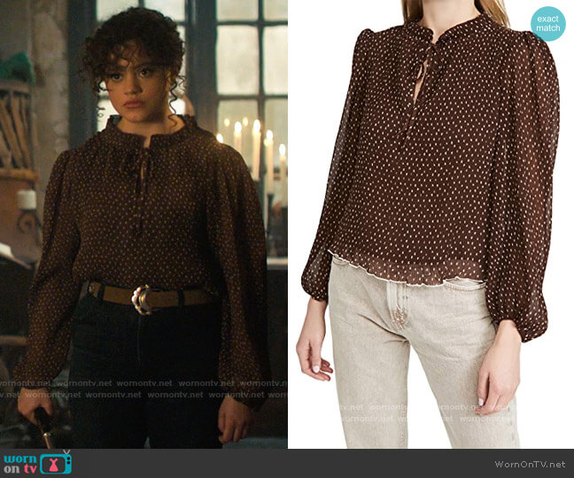 Ganni Pleated Georgette Blouse worn by Maggie Vera (Sarah Jeffery) on Charmed
