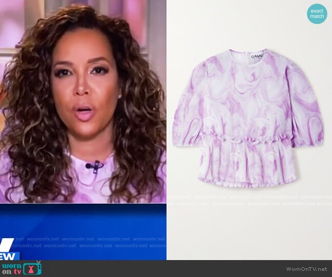 Marble Print Pleated Blouse by Ganni worn by Sunny Hostin  on The View
