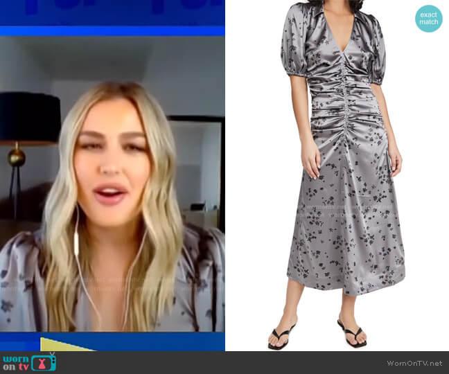 Floral Ruched Stretch Silk Satin Dress by Ganni worn by Carissa Loethen Culiner  on E! News