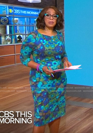 Gayle King's blue blurred floral dress on CBS This Morning