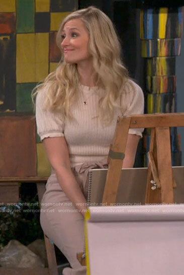 Gemma's white short puff sleeve sweater on The Neighborhood
