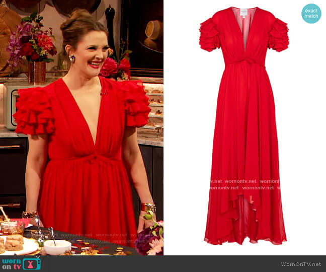 Ruffled silk crepe gown by Giambattista Valli worn by Drew Barrymore  on The Drew Barrymore Show