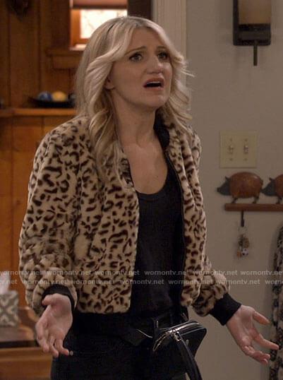 Gina's leopard bomber jacket on B Positive