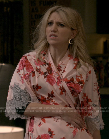 Gina's pink floral robe on B Positive
