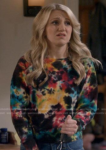 Gina's tie dye sweatshirt on B Positive