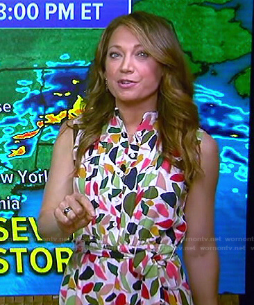 Ginger's printed pleated sleeveless dress on Good Morning America