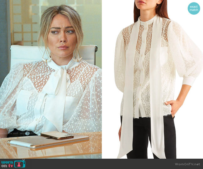 Givenchy Lace Shirt worn by Kelsey Peters (Hilary Duff) on Younger