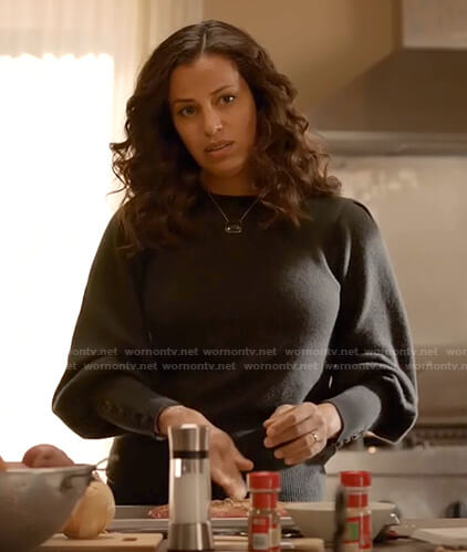 Grace's dark grey button cuff sweater on Manifest