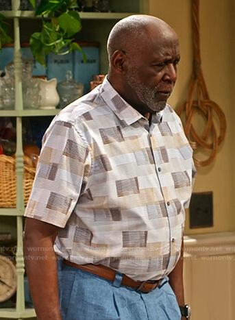Grandpa's geometric short sleeve shirt on Family Reunion