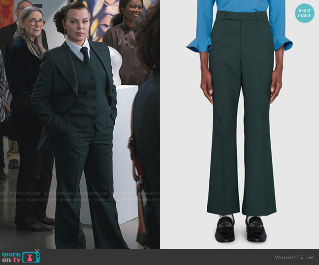 Fluid Drill Cropped Flare Pant by Gucci worn by Maggie (Debi Mazar) on Younger