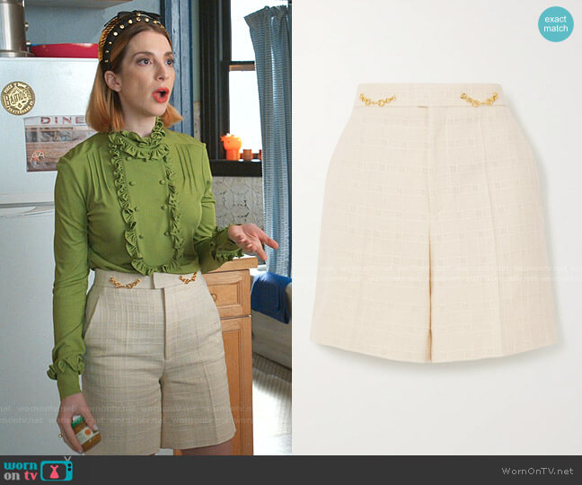 Horsebit Tweed Shorts by Gucci worn by Lauren (Molly Bernard) on Younger