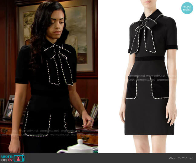 Gucci Viscose Jersey Dress with Pearls & Crystals worn by Zoe (Kiara Barnes) on The Bold & the Beautiful