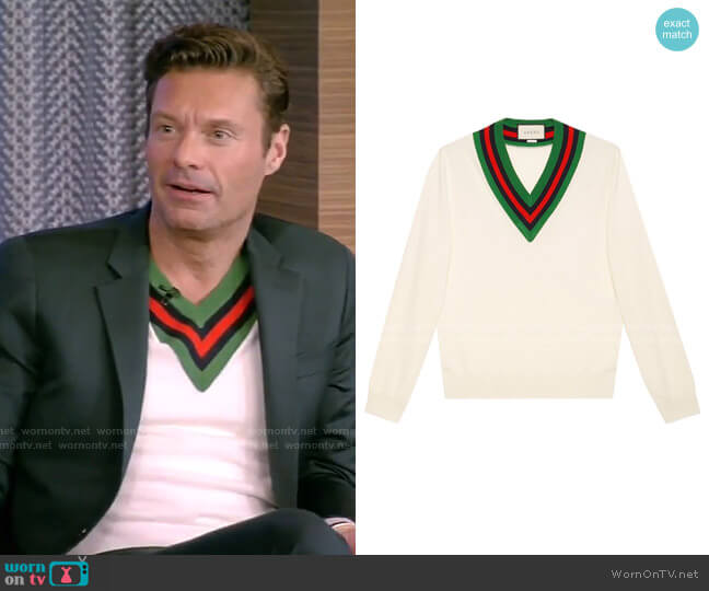 V-Neck Knit Jumper by Gucci worn by Ryan Seacrest on Live with Kelly and Ryan