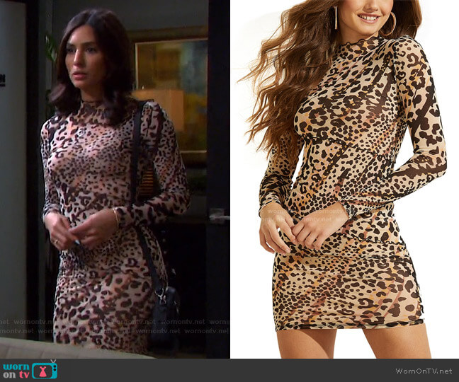 Nadine Mock-Neck Dress by Guess worn by Gabi Hernandez (Camila Banus) on Days of our Lives