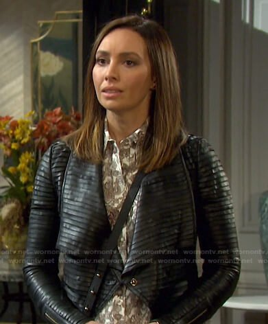 Gwen's white floral shirt and pleated leather jacket on Days of our Lives