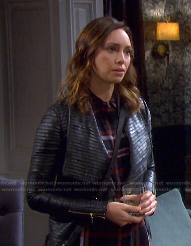 Gwen's plaid shirt and black pleated jacket on Days of our Lives