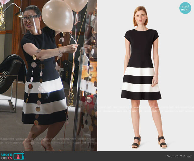 Lizzie Jersey Colourblock Dress by Hobbs worn by Sherri Kansky (Ruthie Ann Miles) on All Rise