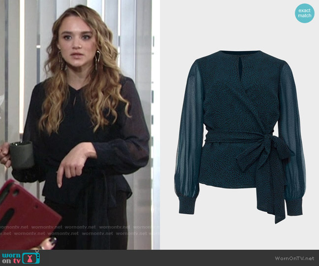 Hobbs Meadow Blouse worn by Summer Newman (Hunter King) on The Young & the Restless
