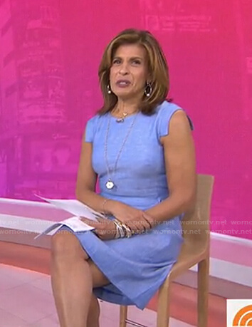 Hoda's blue cap sleeve dress on Today