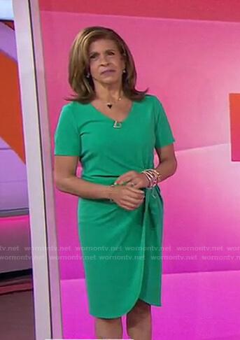 Hoda's green knot waist dress on Today