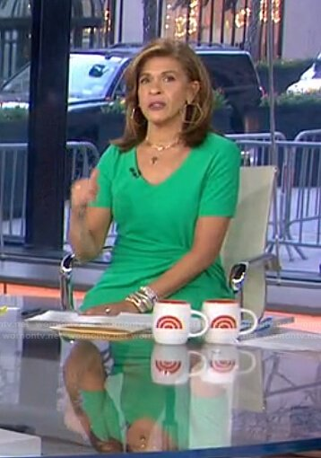 Hoda's green knot waist dress on Today
