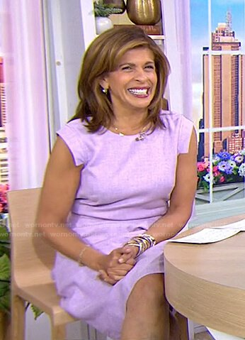 Hoda's lilac cap sleeve dress on Today