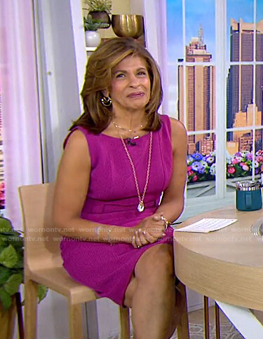 Hoda's magenta belted sleeveless dress on Today