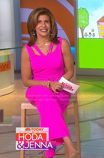 Hoda's pink cutout v-neck jumpsuit on Today