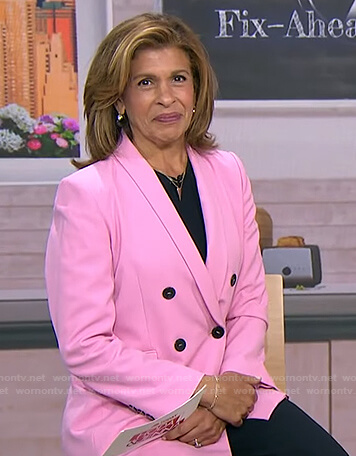 Hoda's pink double breasted blazer on Today