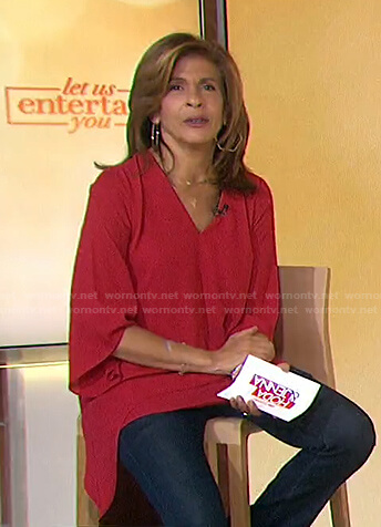 Hoda's red v-neck draped top on Today