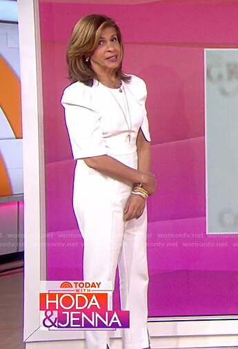 Hoda's white puff sleeve jumpsuit on Today