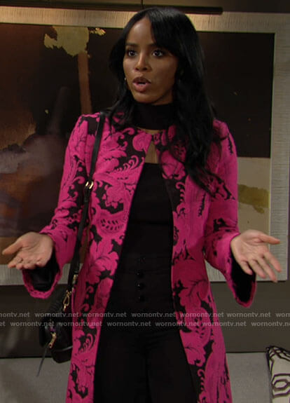 Imani's pink and black floral coat on The Young and the Restless