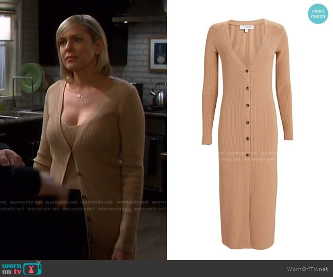 Layla Rib Knit Duster Cardigan by Intermix worn by Nicole Walker (Arianne Zucker) on Days of our Lives