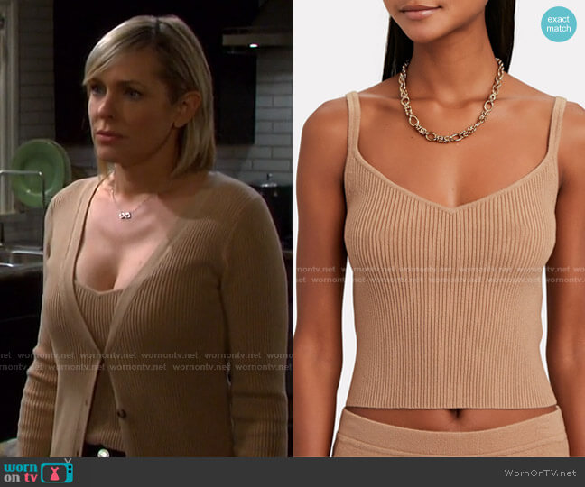 Zia Rib Knit Tank Top by Intermix worn by Nicole Walker (Arianne Zucker) on Days of our Lives