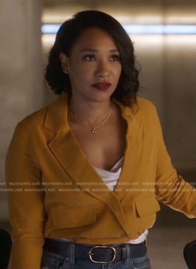Iris's yellow cropped jacket on The Flash