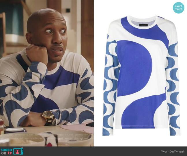 Leilo long-sleeve T-shirt by Isabel Marant worn by Gary Williams (Chris Redd) on Kenan