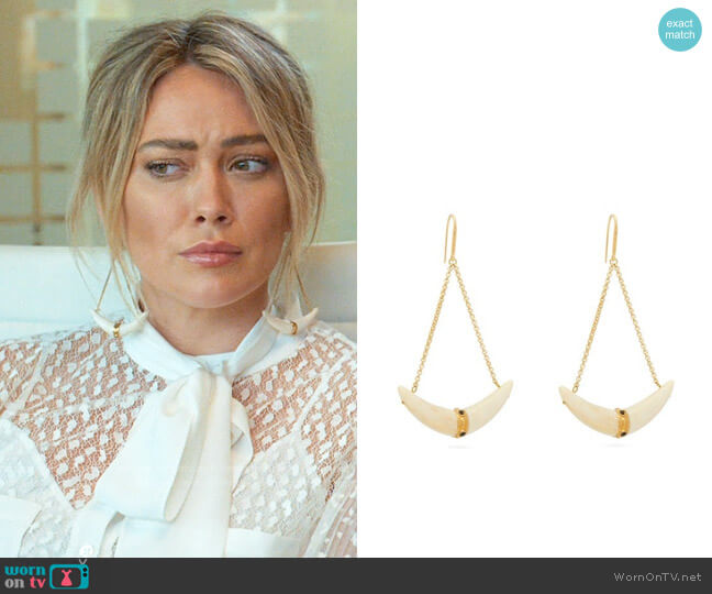 Isabel Marant Curved-Horn Chain-Drop Earrings worn by Kelsey Peters (Hilary Duff) on Younger