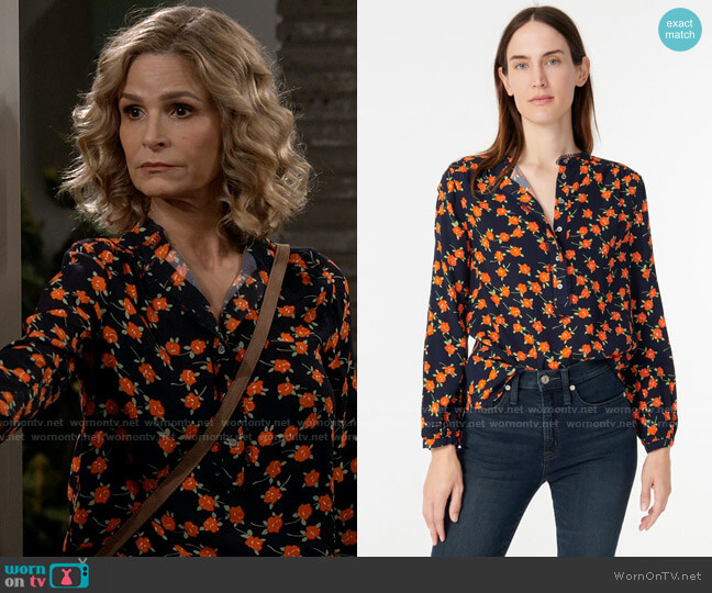 J. Crew Popover Top in Poppy Fields worn by Jean Raines (Kyra Sedgwick) on Call Your Mother