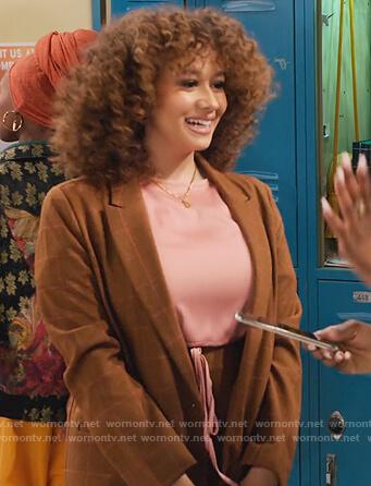 Jade's brown check blazer and skirt on Family Reunion