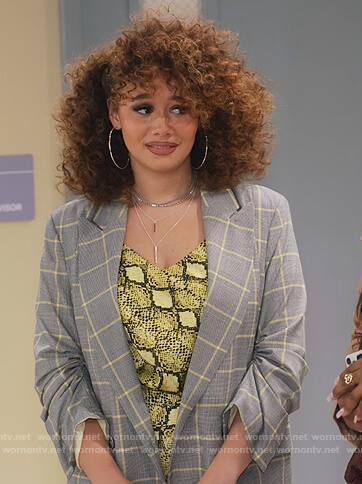 Jade's gray check double breasted blazer on Family Reunion