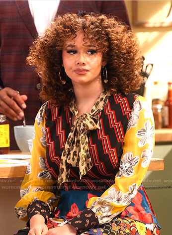 Jade's mixed print tie neck dress on Family Reunion