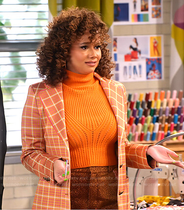 Jade's orange checked blazer on Family Reunion