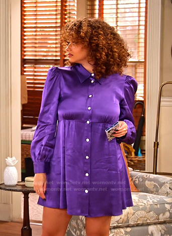 Jade's purple satin shirtdress on Family Reunion